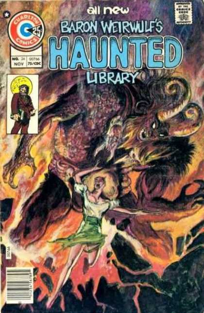 Haunted 24 - Monster - Lady - Cartoon - Fire - Horn