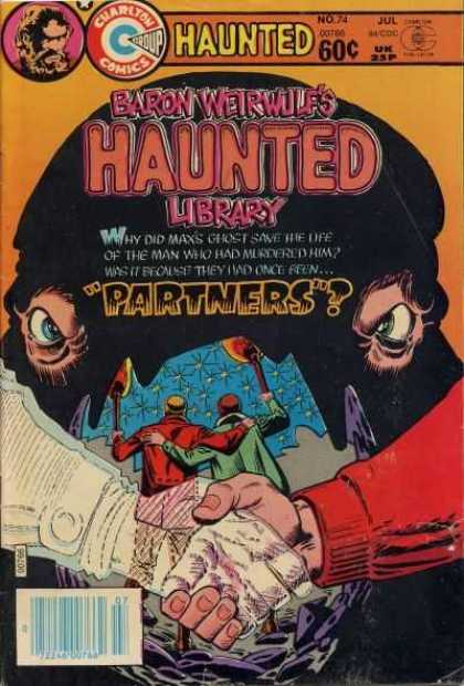 Haunted 74 - Baron Weirwulfs Library - Partners - Handshake - Ghost - Torches