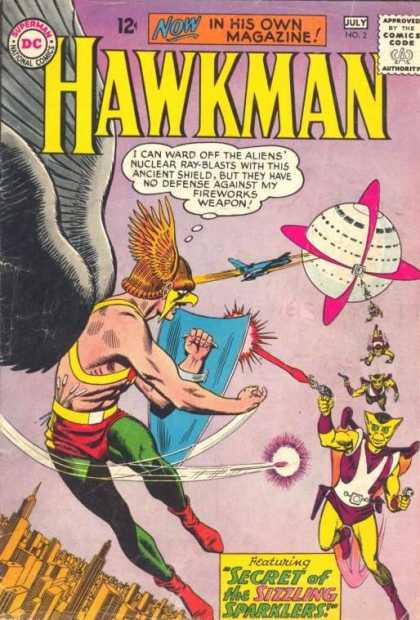 Hawkman 2 - Aliens - Ancient Shield - Fireworks - Blasts Of Nuclear Sparklers - Spaceship - Jan Duursema, Murphy Anderson