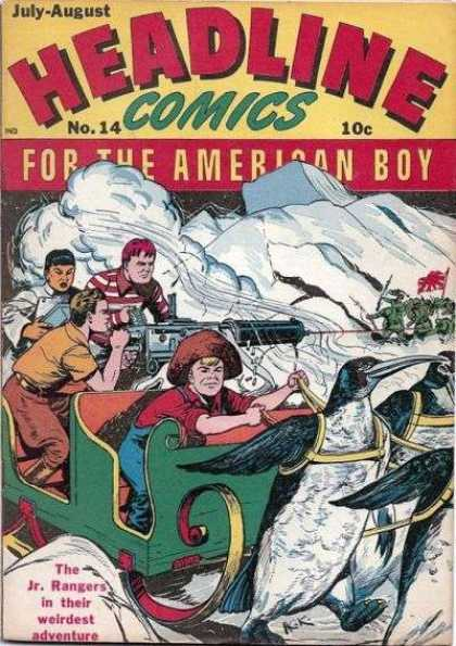 Headline Comics 14 - For The American Boy - Jr Rangers - Sled - Penguins - Gun