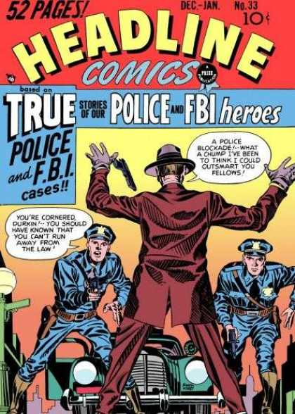 Headline Comics 33 - Police - Fbi - Gun - Car - Chase