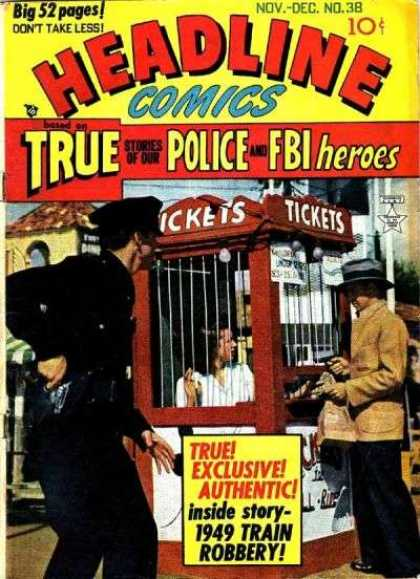 Headline Comics 38 - Police - Booth - Tickets - Gun - Man