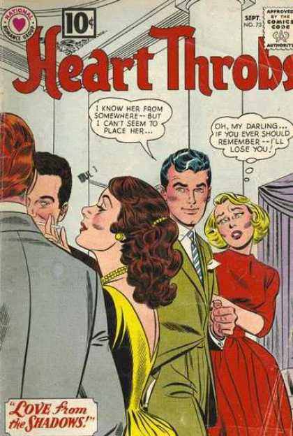 Heart Throbs 73 - 10 Cents - Comics Code Authority - Speech Bubble - Thought Bubble - People