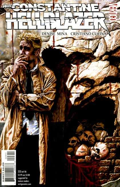 Hellblazer 223 - Smoking - Skulls - Haggard Looking Dude - Spiked Hair - Pile Of Bloody Skulls
