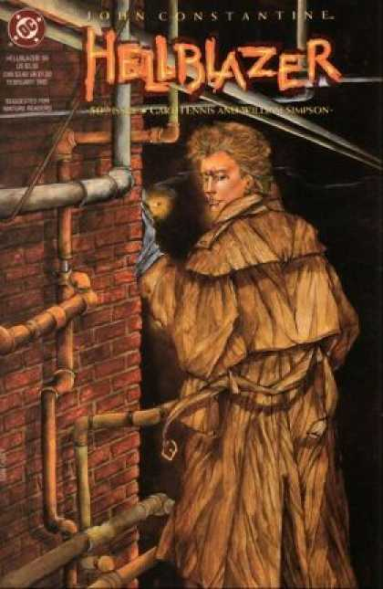 Hellblazer 50 - Brick Wall - Metal Pipes - Lone Man - Trench Coat - Looking Back