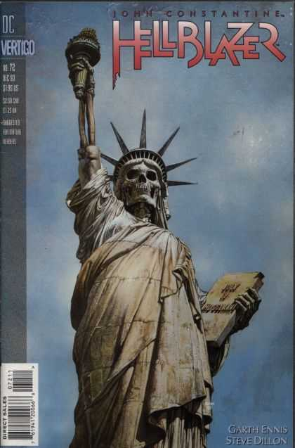 Hellblazer 72 - Torch - Statue Of Liberty - Skull - Skeleton - Dc Comics