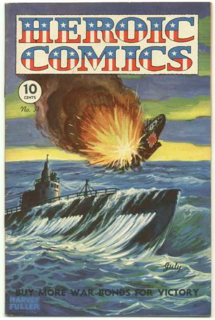 Heroic Comics 31 - Golden Age - Ww Ii - Pacific - Submarine - Ocean