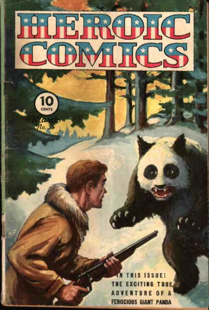 Heroic Comics 35 - Giant Panda - Hunter - Rifle - Snow - Woods
