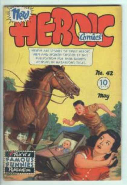 Heroic Comics 42 - Run Away Horse - Boy Scout - Baby In Trouble - Woman In Distress - Boy Saving Baby