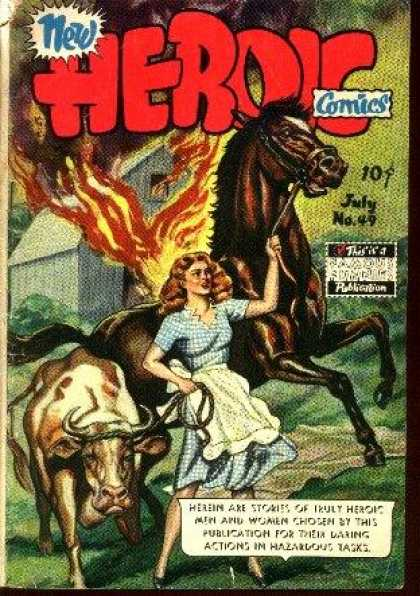 Heroic Comics 49 - Horse - Fire - Cow - Barn - Girl