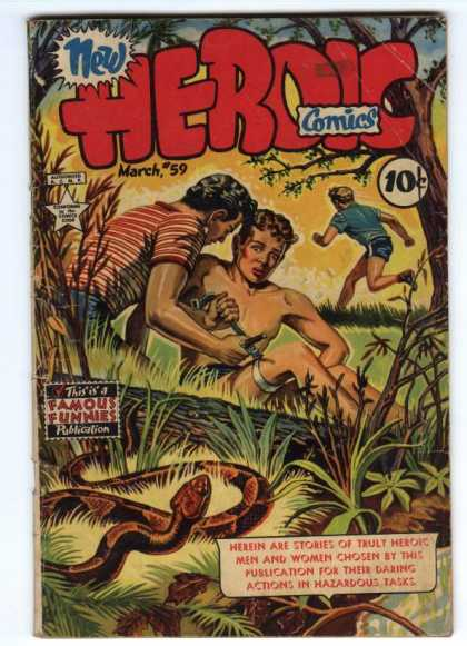 Heroic Comics 59 - Famous Funnies - One Boy Is Running - Tree - Snake - March