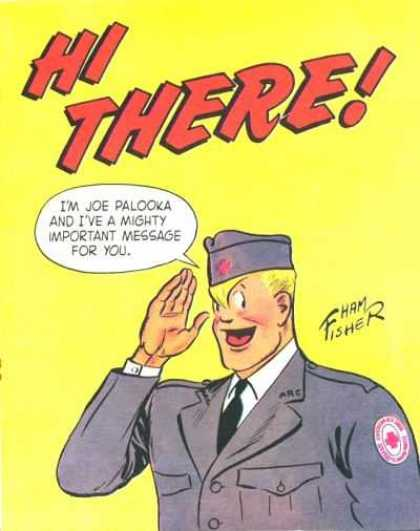 Hi There 1 - Joe Palooka - Important Message - Yellow - Army - Salute