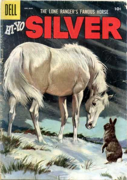 Hi-Yo Silver 21 - The Lone Rangers Famous Horse - Dell - Rabbit Snow With Grass - Grey Clouds - Horse Looking At Rabbit