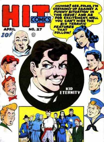 Hit Comics 27 - Kid Eternity - Humor - Bald Head - Sailor - Heros
