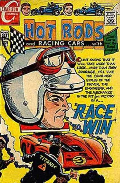 Hot Rods and Racing Cars 104 - Charlton Comics - Car - Man - Approved By The Comics Code - Flag