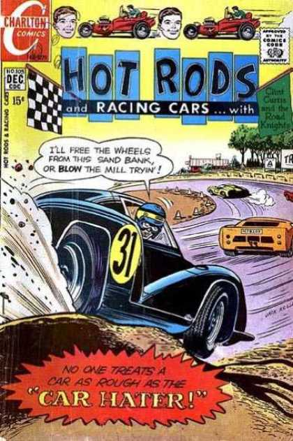 Hot Rods and Racing Cars 105 - Chalton Comics - Checkered Flag - Car Hater - Race Track - Clint Curtis