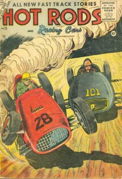 Hot Rods and Racing Cars 26 - Comics Code Authority - 10 Cents - Drivers - Smoke - Tires