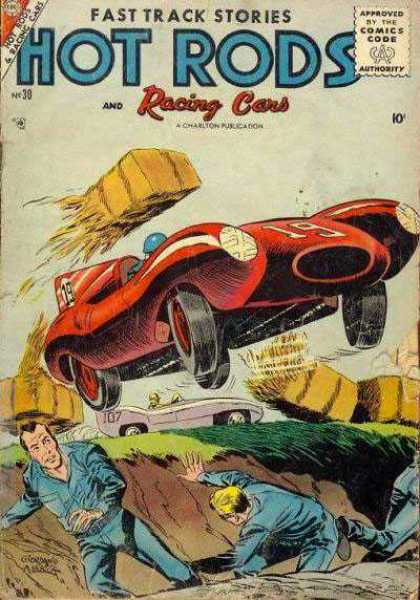 Hot Rods and Racing Cars 30 - Red Car - Flying - Hay - Ditch - Race