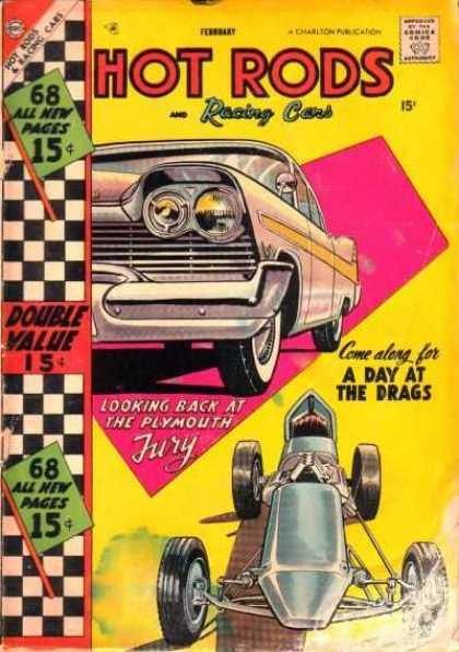 Hot Rods and Racing Cars 34 - Come Along For A Day At The Drags - Looking Back At The Plymouth Fury - Double Value - 68 All New Pages - Tyres