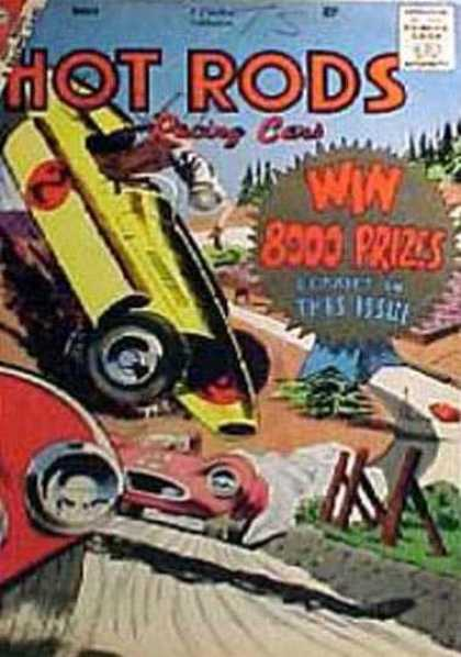 Hot Rods and Racing Cars 39 - Win 8000 Prizes - Yellow Race Car - Accident - Flips Over - Red Car