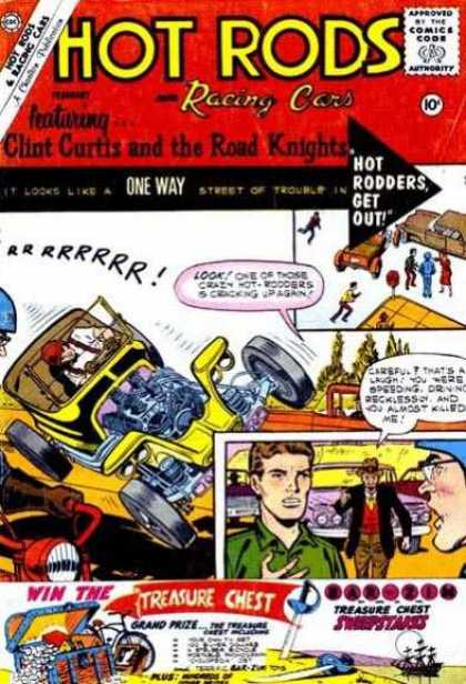 Hot Rods and Racing Cars 50 - Approved By The Comics Code - One Way - Car - Man - Treasure Chest