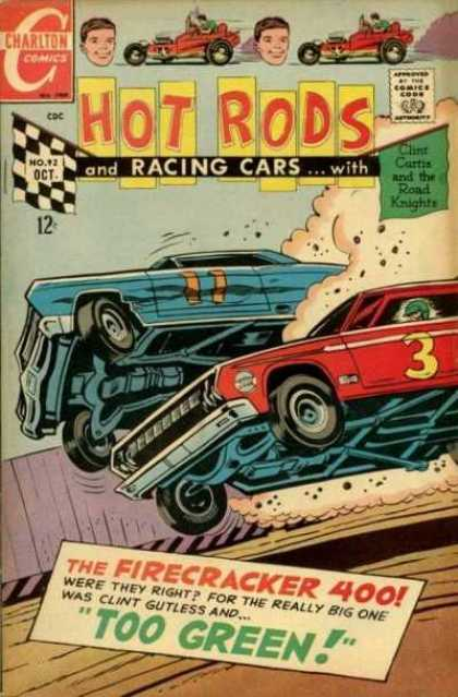 Hot Rods and Racing Cars 92 - Cars - Charlton Comics - Dust - Checkered Flag - Firecracker 400