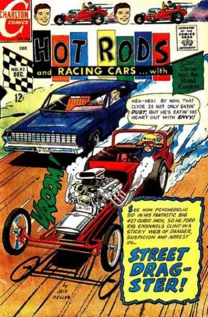 Hot Rods and Racing Cars 93 - Charlton Comics - Clint Curtis - Round Knights - Clyde - Psychadelic Sid