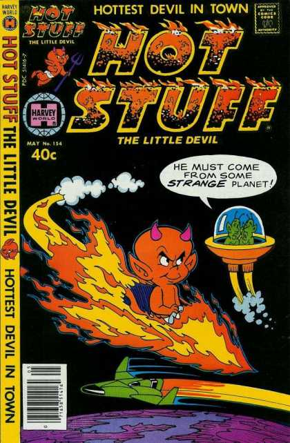 Hot Stuff 154 - Harvey World - The Little Devil - Hottest Devil In Town - Aliens - No 154