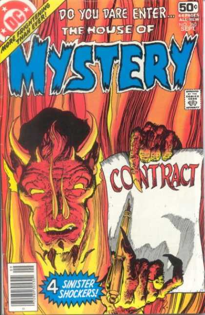 House of Mystery 260 - Contract - Devil - Satin - 4 Sinister Shockers - Fire - Michael Kaluta