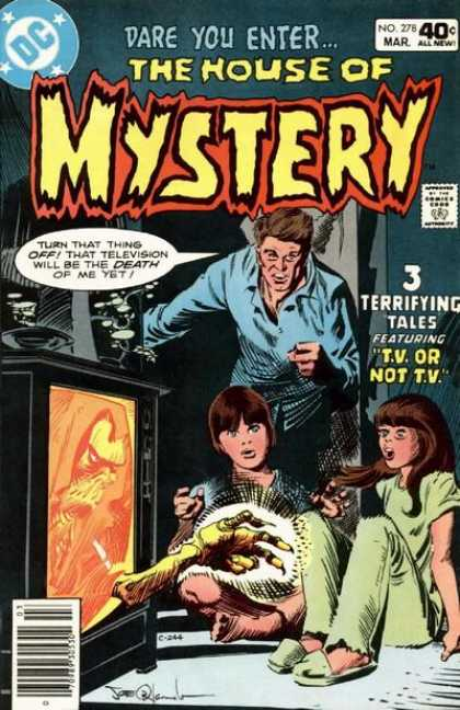 House of Mystery 278 - Tv Or Not Tv - Terrifying - Two Young Girls - Dad - Monsters Hand Reaching Out From Tv Set