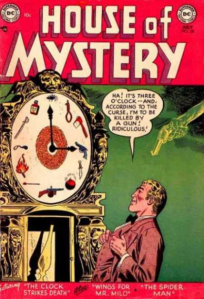 House of Mystery 28 - Clock Strikes Death - Wings For Mr Milo - The Spider Man - Gun - Grandfathers Clock