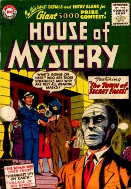 House of Mystery 54 - Mask - Mystery - Dc - Green - Faces