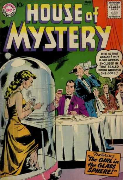 House of Mystery 72 - The Girl In The Glass Sphere - Mysterious Woman - Sealed Booth - Restaurant - Dining