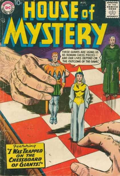 House of Mystery 77 - Giant Hand - Chessboard - Human Pieces - Preacher - Green Robes