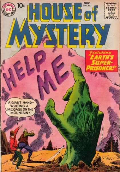 House of Mystery 80 - Super Prisoner - Giant Hand - Mountain - Message - Handwriting