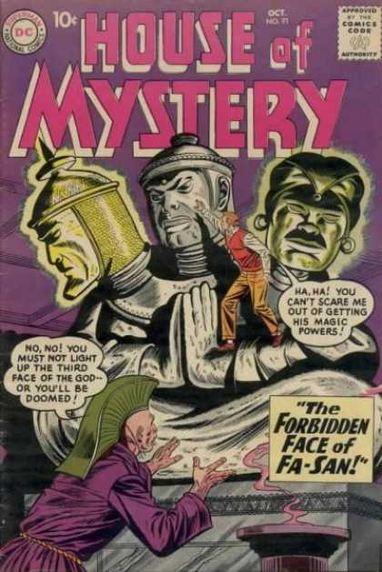 House of Mystery 91 - Three Heads - Magic Powers - Face Of Fa-san - Purple Robe - Guy