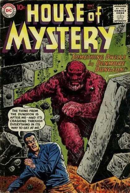 House of Mystery 98 - Denmore Dungeon - Monsters - Getting Chased - Run Away - Smashes Through A Wall - Sheldon Moldoff