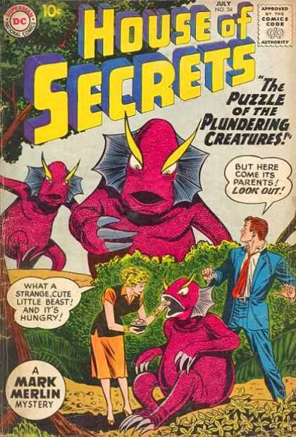 House of Secrets 34 - The Puzzle Of The Plundering Creatures - But Here Come Its Parents Look Out - Beast - Flowers - What A Strange Cute Little Beast And Its Hungry - Sheldon Moldoff