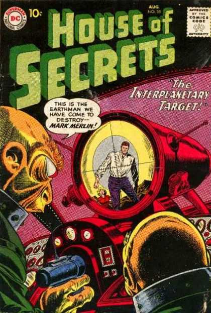 House of Secrets 35 - Aliens - Gun - Weapon - Man - The Interplanetary Target - Sheldon Moldoff