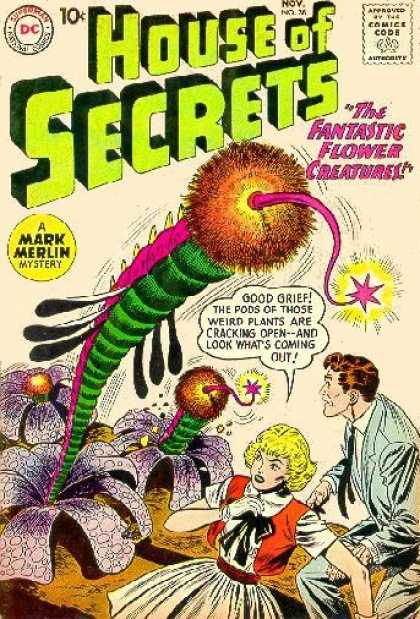 House of Secrets 38 - Flowers - Flower Creatures - Pods - Plants - Cracking Open - Sheldon Moldoff
