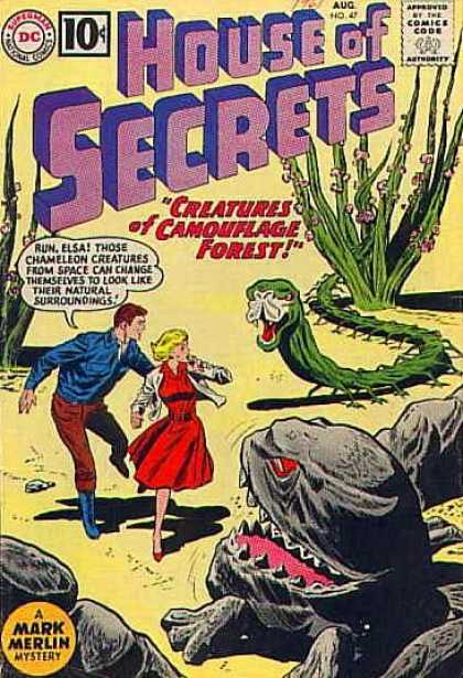 House of Secrets 47 - Red Dress - Snake - Chameleon - Camoflague - Scary Rock - Sheldon Moldoff