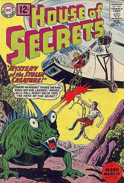 House of Secrets 51 - Helicopter - Ladder - Mystery Of The Stolen Creature - Monster - Mountainous Region - Sheldon Moldoff
