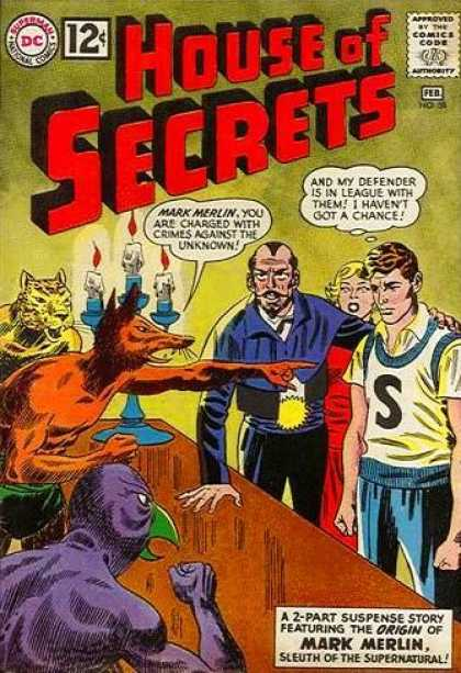 House of Secrets 58 - Mark Merlin - Sleuth Of The Supernatural - Beasts - Candles - Crime - George Roussos