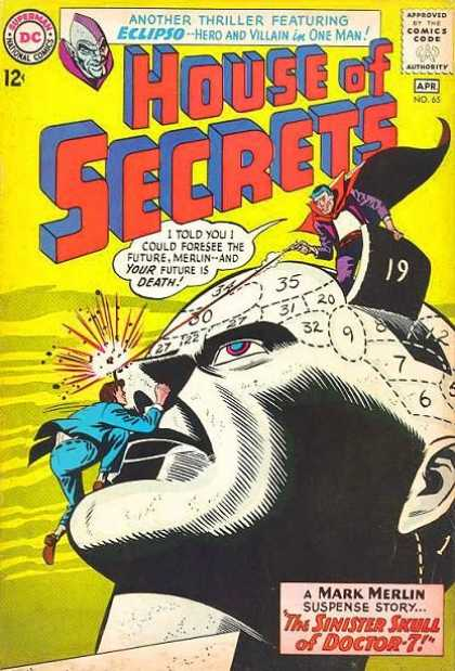 House of Secrets 65 - Superman National Comics - Approved By The Comics Code - Man - Superhero - The Sinister Skull Of Doctor-7