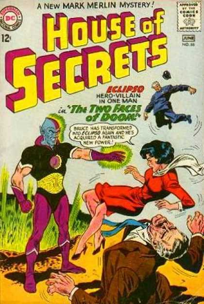 House of Secrets 66 - Dc Comics - Eclipso - The Two Faces Of Doom - Red Dress - Maek Merlin - Sheldon Moldoff