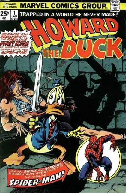 Howard the Duck 1 - Spiderman - First Issue - Trapped In A World He Never Made - Super-star - Swoed And Sorcery