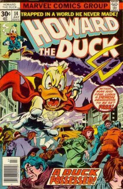 Howard the Duck 14 - Trident - Possessed - Rainclouds - City Street - Taxi - Gene Colan