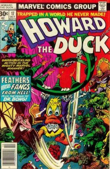 Howard the Duck 17 - Feathers Versus Fangs From Hell - Dr Bong - Chandelier - Throne - Purple Curtain - Gene Colan