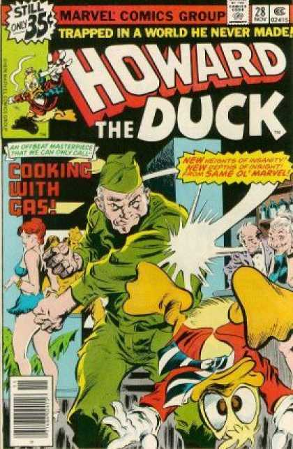 Howard the Duck 28 - Trapped In A World He Never Made - Cooking With Gas - Upside Down Duck - Punched - Army Guy Punching - Gene Colan