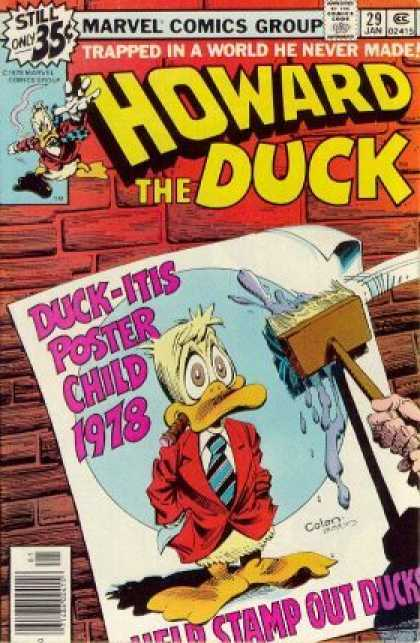 Howard the Duck 29 - Trapped - Duckitis - Poster Child - Stamp Out - Brick Wall - Gene Colan, Terry Austin
